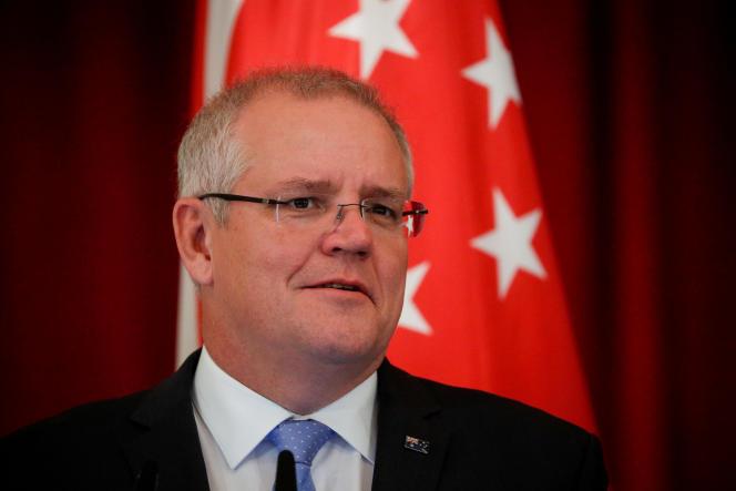 Le premier ministre australien Scott Morrison lors d'une conférence de presse à Singapour, le 7 juin 2019.