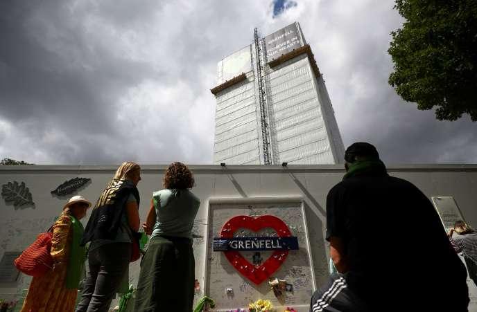 Commémoration de l'incendie de la tour Grenfell,le 14 juin à Londres.