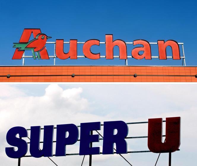 Les logos des supermarchés Auchan et Super U.