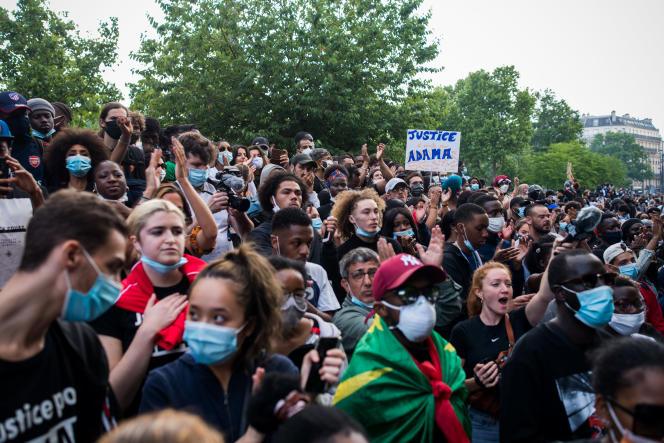 Manifestation contre le racisme et les violences policières à l'appel du Comité Adama, place de la République, à Paris, samedi 13 juin.