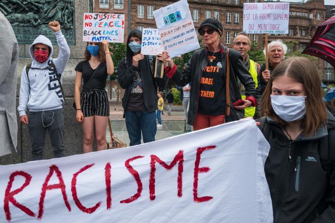 Manifestation contre le racisme et les violences policières,le 14 juin, à Strasbourg (Bas-Rhin).