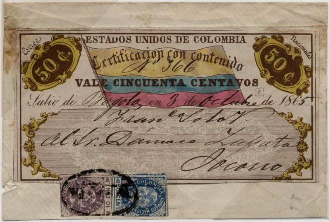 Cubierta pour un courrier de Bogota pour Socorro,1865.