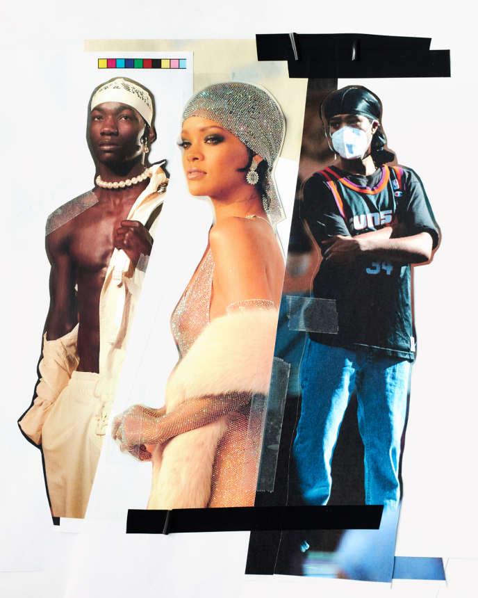 De gauche à droite : défilé Fenty x Puma by Rihanna, Rihanna aux CFDA Fashion Awards, puis lors d'une manifestation suite à la mort de George Floyd.