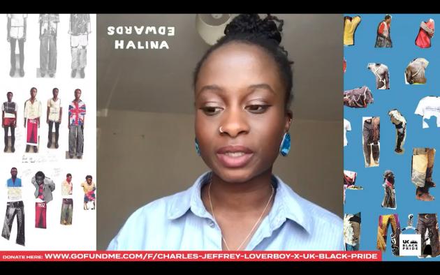 Halina Edwards a présenté des croquis de silhouettes chamarrées, insistant sur«le besoin d'éducation»des esprits pour«briser les préjugés»racistes.