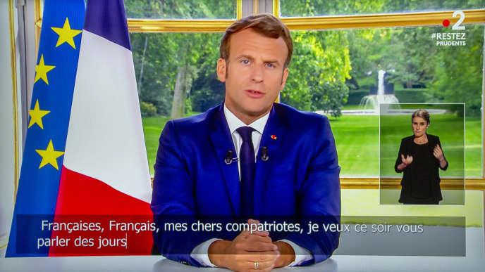 Le président Emmanuel Macron s'exprime depuis l'Elysée, le 14 juin.