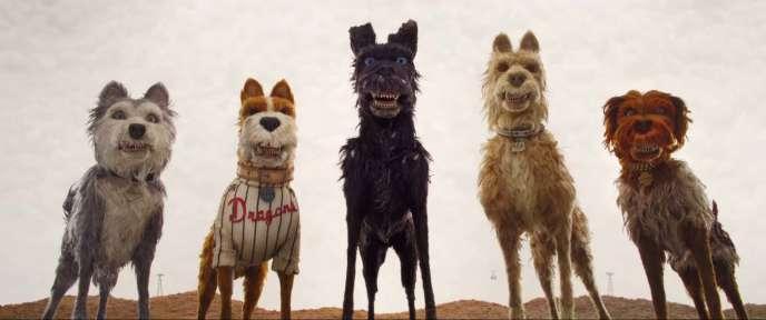 Les cinq héros canins de« L'Ile aux chiens» (2018), de Wes Anderson.