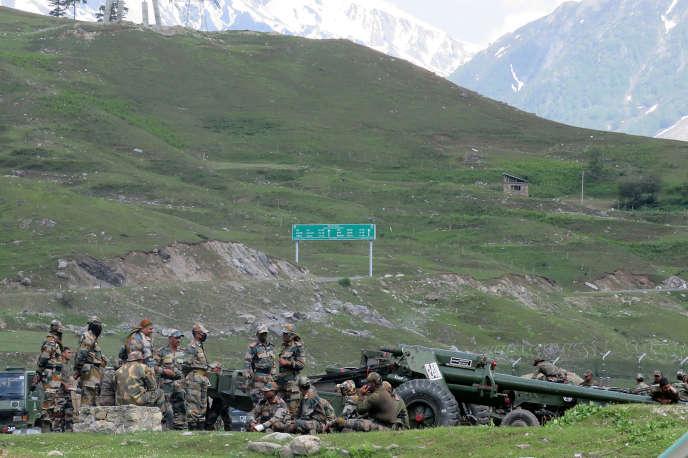 Des soldats de l'armée indienne dans la région contestée de Ladakh (Himalaya), le 16 juin.