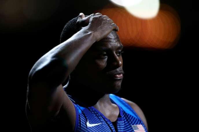 A Doha, le 5 octobre 2019, Christian Coleman lors du championnat du monde d'athlétisme, avant le 4×100m qu'il remportera.