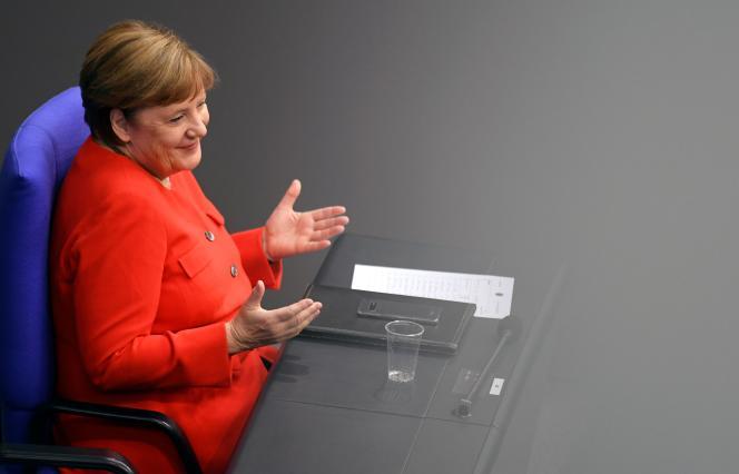 La chancelière allemande Angela Merkel au Bundestag, à Berlin, le 18 juin 2020.
