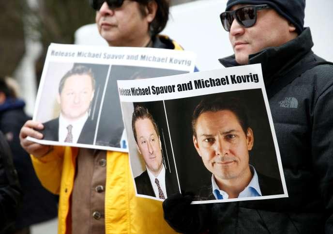 Manifestation en faveur de la libération de Michael Spavor et de Michael Kovrig, en mars 2019 à Vancouver.