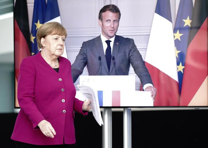 Angela Merkel et Emmanuel Macron, durant une conférence de presse conjointe en vidéo, le 18 mai.