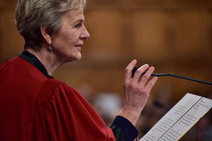 Eliane Houlette, alorsprocureure financière, prononce un discours au tribunal de grande instance de Paris, le 23 janvier 2017.