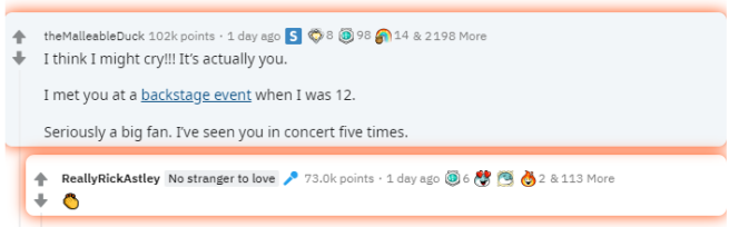 Rick Astley, bon joueur, a applaudi avec un emoji l'internaute qui est parvenu à le«rickroller».