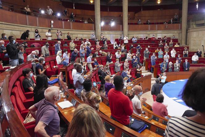 L'adoption des conclusions de la convention citoyenne pour le climat, au palais d'Iéna, à Paris, le 21 juin.