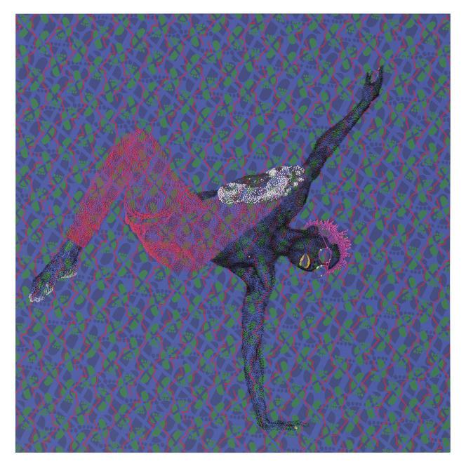 Evans Mbugua (né en 1979 au Kenya).« Spin», 2018. Huile sur plaque de plexiglas et papier photographique (98 x 98,5 cm). Mise en vente : 5 000 à 8 000 euros.