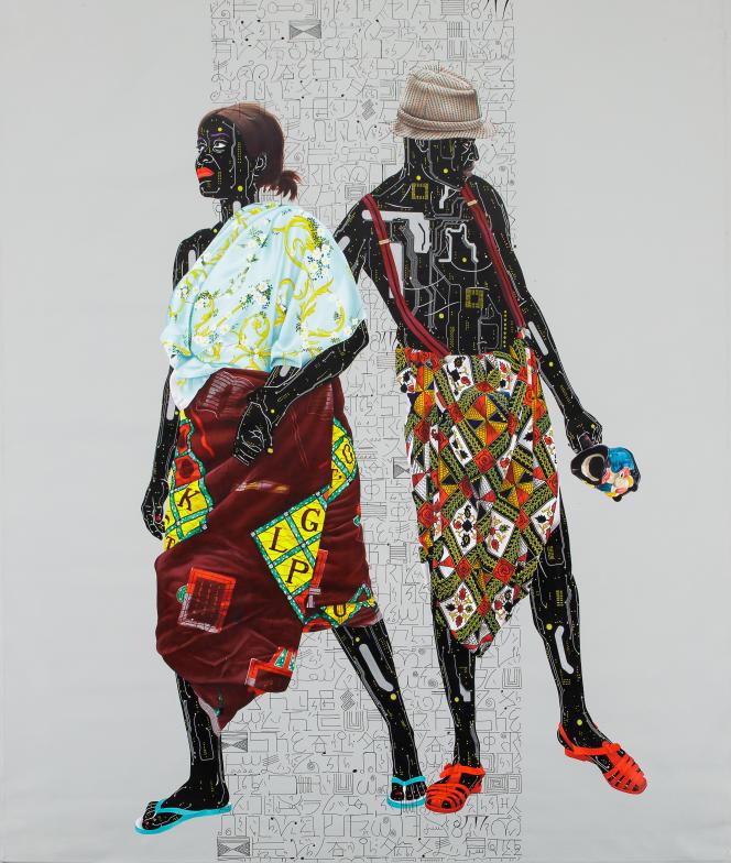 Eddy Kamuanga (né en 1991 en République démocratique du Congo).« Sans titre», 2018. Huile sur toile (204 x 184 cm). Mise en vente : 30 000 à 40 000 euros.