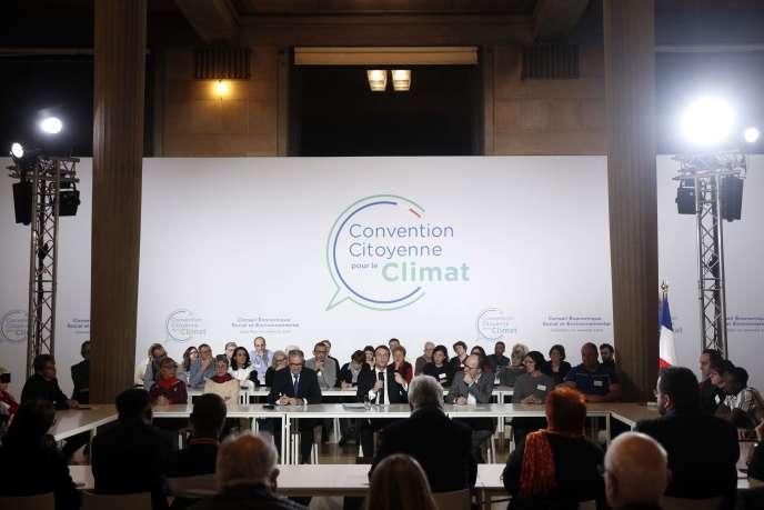 Emmanuel Macron à la convention pour le climat, à Paris, le 10 janvier.