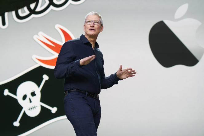 Le PDG d'Apple Tim Cook, lors de la Conférence mondiale des développeurs Apple 2020,à Cupertino, en Californie,le 22 juin.