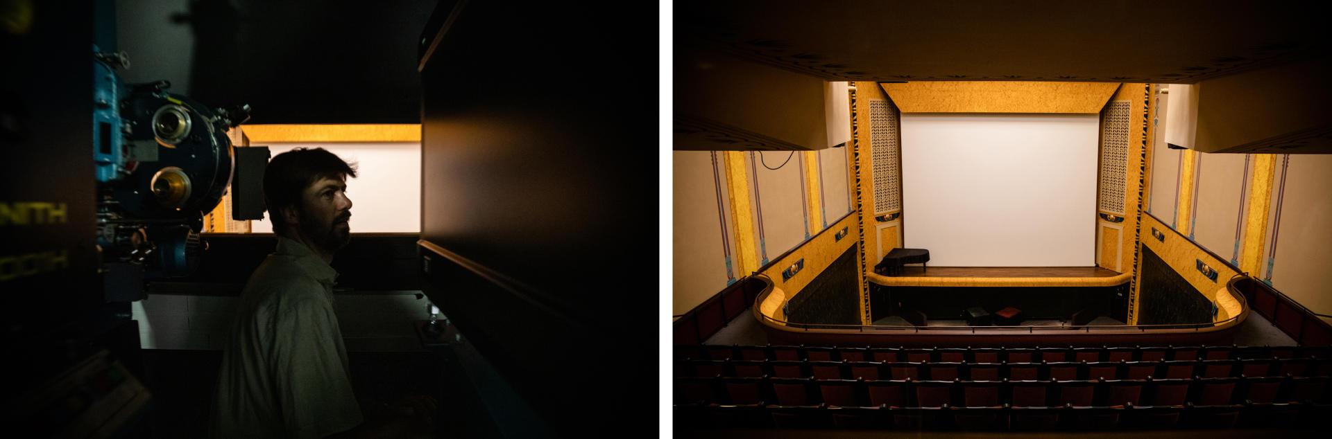 Cabine de projection du cinéma Le Louxor à Paris. Benjamin Louis, le directeur technique, finit les derniers préparatifs avant le lancement de la première projection. Les cinémas sont autorisés à rouvrir depuis ce 22 juin.