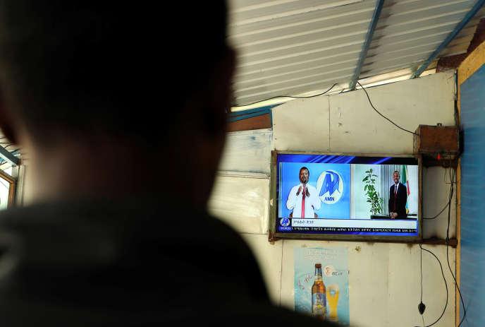A Addis-Abeba, annonce télévisée du prix Nobel de la paix 2019 décerné à Abiy Ahmed, premier ministre éthiopien.