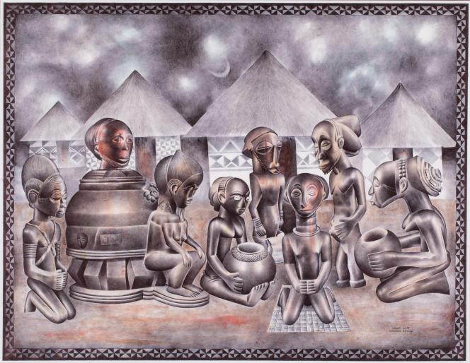 Tsham (né en 1963 en République démocratique du Congo).« Cases», 2019. Aquarelle et stylo à bille Bic sur papier Canson (63 x 81 cm). Mise en vente : 5 000 à 8 000 euros.