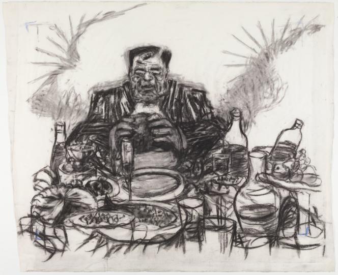 William Kentridge (né en 1955 en Afrique du Sud). «Drawing from Johannesburg, 2nd Greatest City after Paris (Soho Eating)», 1989. Fusain et pastel sur papier (110 x 130 cm). Mise en vente : 190 000 à 250 000 euros.