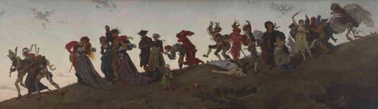 Paul Perrin poursuit : «Ce tableau est l'un des tout premiers que James Tissot expose au Salon à Paris. Dans un format panoramique, l'artiste réinvente, à la peinture à l'huile, ce qui fut un motif privilégié de l'estampe et des arts du décor de la fin du Moyen Age. Disposé en frise, une joyeuse sarabande de vivants en costumes bigarrés se dirige résolument vers le trépas, menée et fermée par deux figures de la mort (la première joue de la vielle, la seconde porte un cercueil, une faux et un sablier). Au loin, une minuscule figure de pèlerin marche vers la lumière. Le jeune Tissot admire particulièrement les maîtres allemands et flamands de la fin du Moyen Age et du début de la Renaissance, comme Hans Holbein ou Albrecht Dürer, dont il s'inspire ici.»