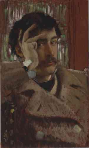 Paul Perrin confie :« James Tissot ne s'est que rarement prêté au jeu de l'autoportrait. Ici, âgé d'une trentaine d'années, le peintre s'amuse à se donner un air nonchalant, presque las, même si le regard reste interrogateur. Quel genre d'homme, d'artiste, sera-t-il ? De la génération de Manet et Degas, Tissot fut lui aussi, toute sa vie, un artiste profondément indépendant, naviguant entre la France et l'Angleterre, entre les grands mouvements de son temps (historicisme, réalisme, préraphaélisme, impressionnisme, japonisme…), sans jamais se laisser enfermer dans une case. Doué pour sentir l'air du temps et pour les affaires, Tissot fait carrière et accompagne les modes avec talent et originalité. A ses contemporains comme à lui-même, il tend un miroir à la fois flatteur et interrogateur. Derrière le «glamour» (selon ses mots) de ses séduisantes compositions, perce un regard lucide et véritablement moderne.»