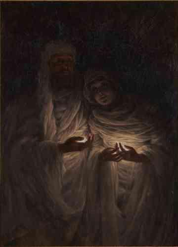 «En 1876, James Tissot, âgé de 41 ans, rencontre à Londres Kathleen Newton, 23 ans, divorcée et mère de deux enfants. Elle emménage bientôt chez lui et devient sa principale source d'inspiration. La mort de Kathleen, malade de la tuberculose, en 1882, provoque le retour précipité de Tissot à Paris. Il se documente alors sur les expériences de communication avec les morts et le courant spiritualiste, en vogue en Europe. En faisant appel au médium anglais Eglinton, Tissot croit parvenir à entrer en contact avec Kathleen – accompagnée d'un «guide»– lors d'une séance de spiritisme à Londres en 1885. Il reproduit fidèlement cette expérience dans une peinture unique en son genre,«L'Apparition médiumnique », dont il ne se séparera jamais», raconte Paul Perrin.