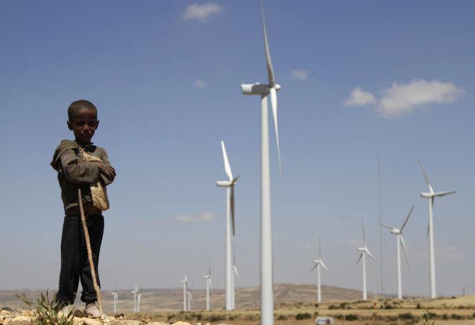 Parc éolien d'Ashegoda, dans la région du Tigré, dans le nord de l'Ethiopie, en octobre 2013.