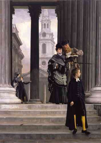 Cyrille Sciama :«Deux touristes quittent la National Gallery de Londres. La femme ne semble pas écouter son compagnon et fixe le spectateur. Il est 10h35 : la visite du musée fut courte. Leur style vestimentaire et la franchise des poses tranchent avec les mœurs britanniques victoriennes. Il semble que ce soit des touristes américains dont se moque Tissot.»
