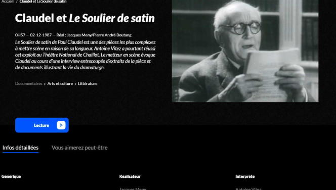 Capture d'écran prise sur le site de l'INA.