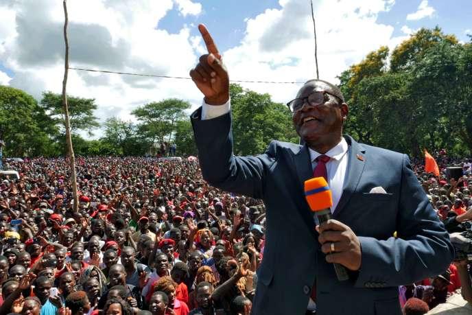 Le nouveau président du Malawi, Lazarus Chakwera, lors d'un meetingle 4février 2020,à Lilongwe, la capitale.