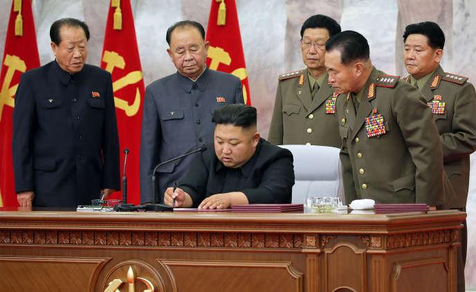 Photo non datée du dirigeant Kim Jong-un transmise le 24 mai par l'agence nord-coréenne KCNA.