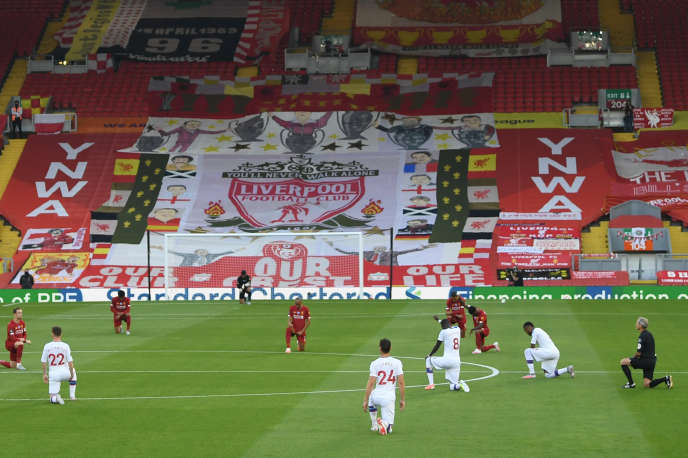 Lors de la rencontre de Premier League entre Liverpool et Crystal Palace à Anfield, Liverpool (Angleterre), le 24juin.