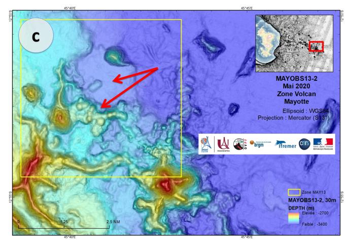Évolutions morphologiques dans la zone du volcan enregistrées en mai 2020.