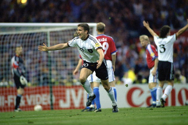 German striker Oliver Bierhoff, June 30, 1996, in London, after his golden goal against the Czech Republic.