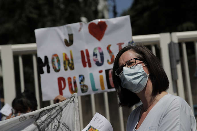 A protester outside Robert Debré Hospital in Paris on June 25.