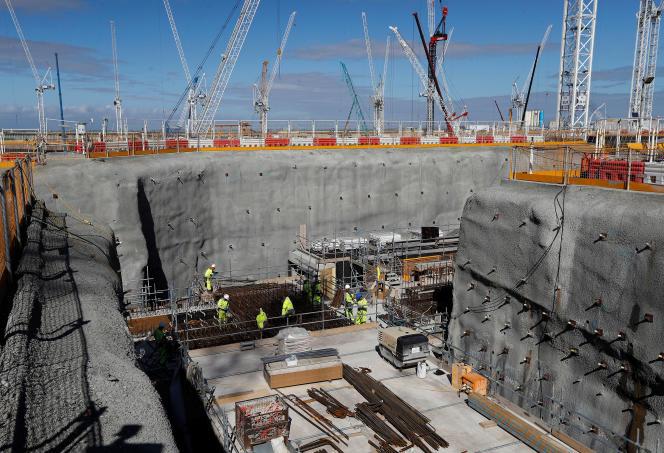 Deux réacteurs de type EPR en cours de construction par EDF à Hinkley Point C, dans l'ouest de l'Angleterre, en septembre 2019.