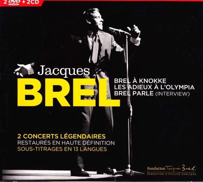 Pochette du coffret« Brel à Knokke – Les Adieux à l'Olympia – Brel parle », de Jacques Brel.