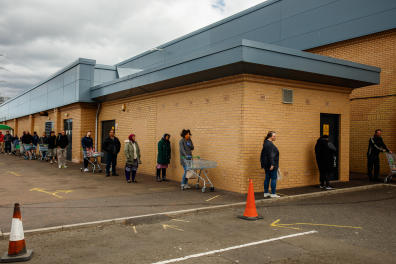 May 16, 2020. A queue outside a major supermarket, in the New Craighall Edinburgh Scotland. The queues were particularly busy on a Saturday morning such as this.