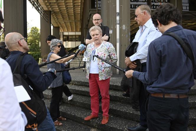 Catherine Trautmann (PS) lors d'une conférence de presse en amont du second tour des élections municipales à Strasbourg, le 2 juin.
