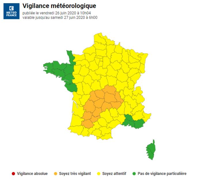 La carte de Météo-France publiée vendredi26juin à 10heures.