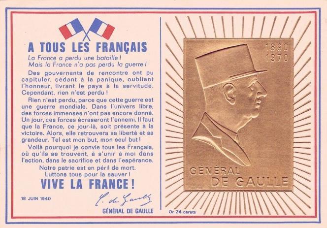 Carte postale éditée par le Comité national du mémorial du général de Gaulle, souscription de 10 francs pour l'érection du monument de Colombey-les-deux-Eglises.
