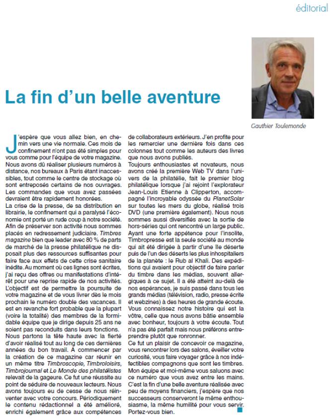 Le dernier édito de Gauthier Toulemonde dans« Timbres magazine».