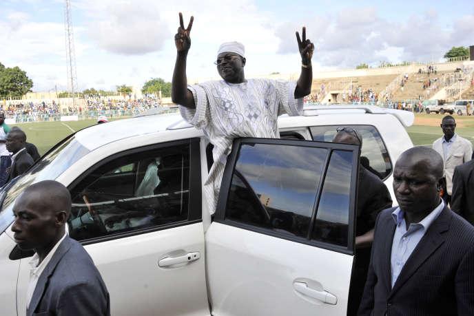 Le candidat CDP à l'élection présidentielle burkinabée, Eddie Komboïgo, à Ouagadougou, en 2015.