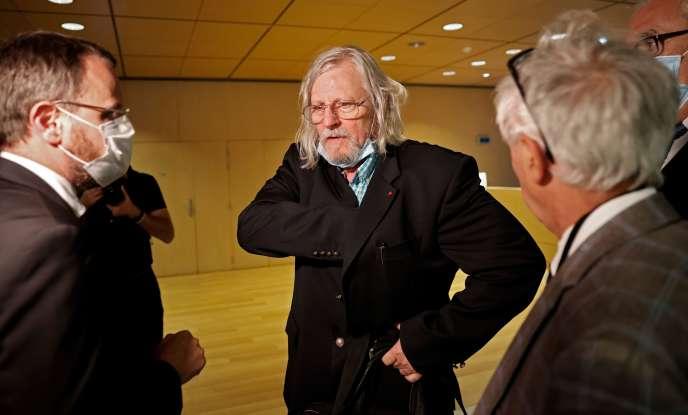 Didier Raoult après son audition par la commission d'enquête à l'Assemblée nationale à Paris, le 24 juin.