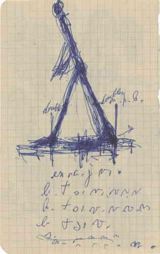 «Le dessin est indissociable de la pratique artistique de l'artiste. A partir de la seconde moitié des années 1940, le motif de la marche est repris inlassablement par l'artiste dans une profusion de dessins, ceux-ci se déployant sur tous types de supports, comme cette page de carnet. »