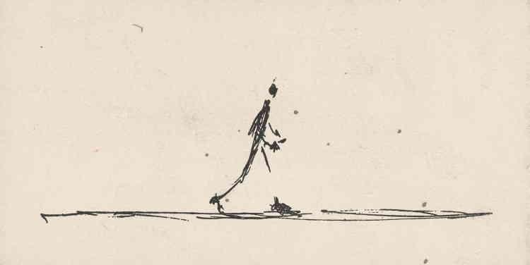«En juin 1951, Alberto Giacometti expose pour la première fois à la galerie Maeght, à Paris. Première grande exposition monographique de Giacometti dans la capitale, celle-ci regroupe de nombreuses sculptures d'hommes qui marchent. Et c'est tout naturellement ce motif que Giacometti choisit de mettre en avant sur le carton d'invitation qu'il réalise en lithographie. »