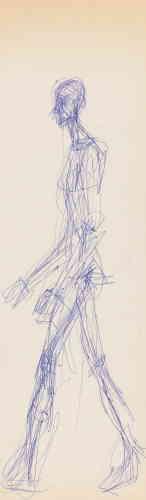 «Ce croquis, présenté pour la première fois au public, se distingue par les très grandes dimensions de la feuille sur laquelle il se trouve. En dépit de celles-ci, la rapidité d'exécution du trait, ainsi que le naturel du mouvement du corps, montre qu'il s'agit vraisemblablement d'un dessin réalisé sur le vif. Le format très étroit de la feuille n'est pas sans rappeler les cadrages dont Giacometti entoure très régulièrement œuvres graphiques et peintures. »